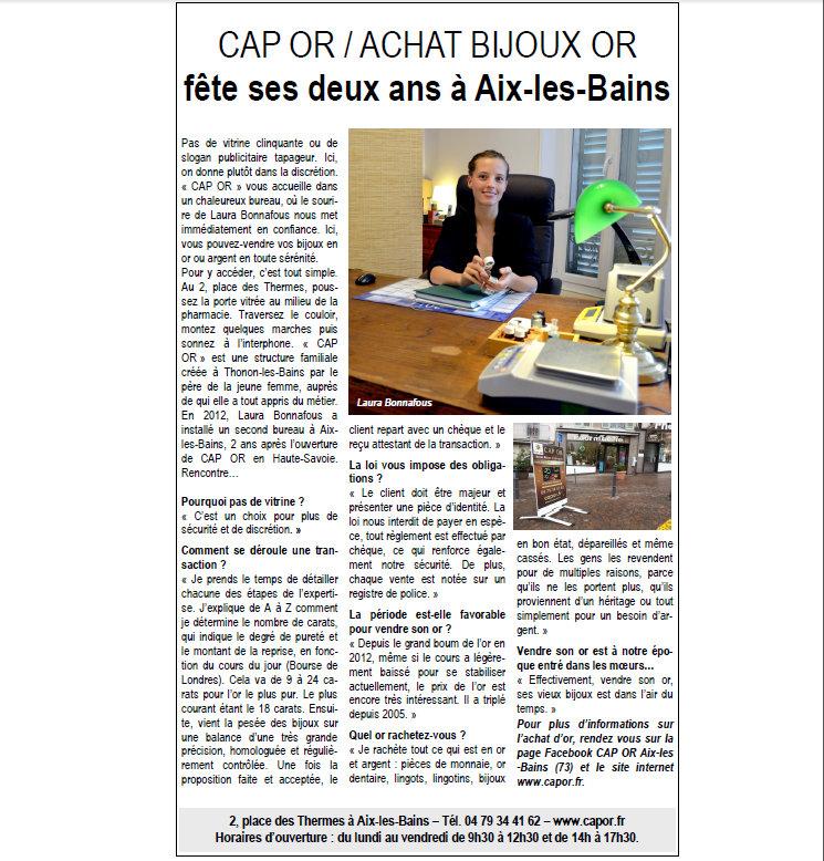 Article du Dauphiné Libéré Aout 2014