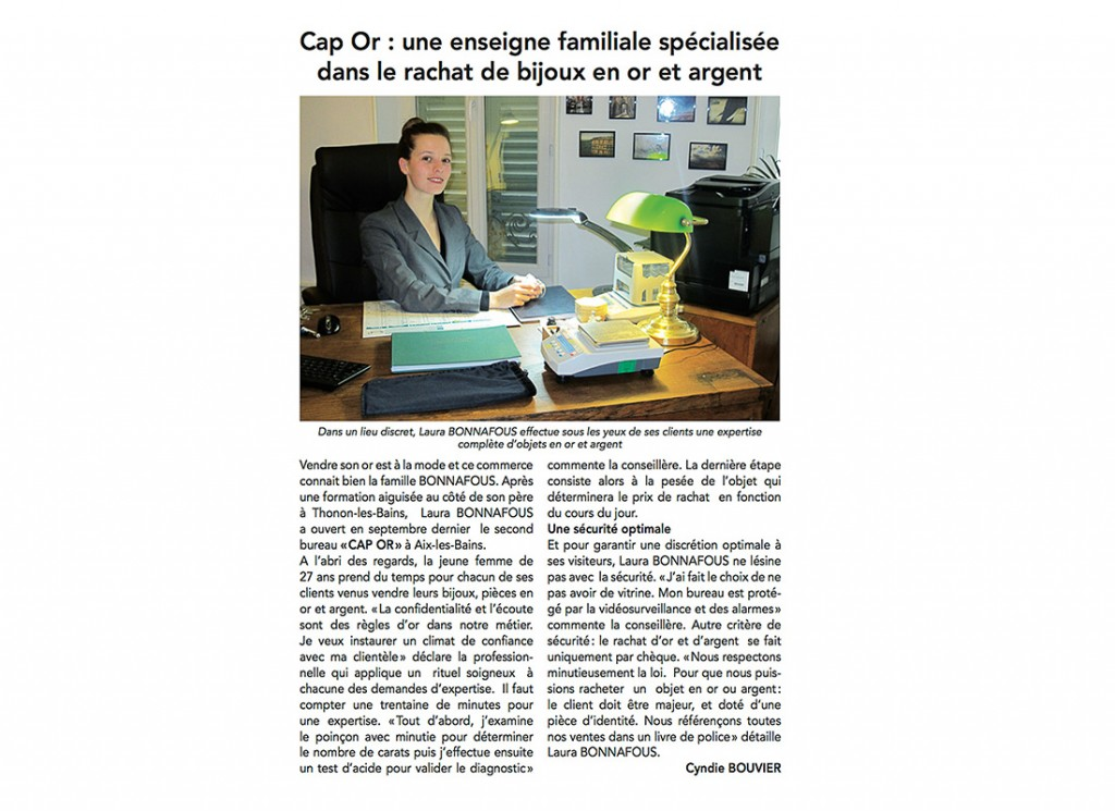 Article du Dauphiné Libéré Mars 2013